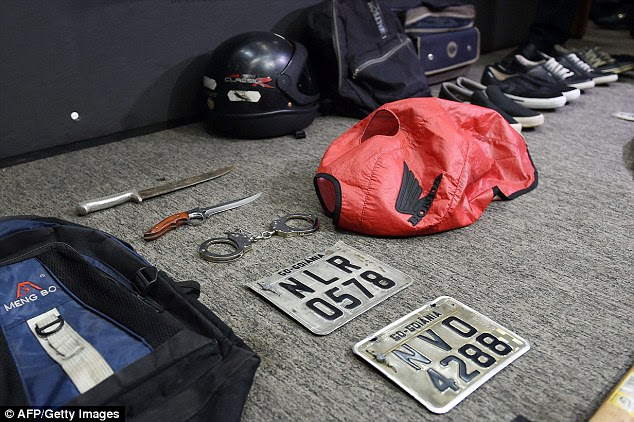 Chilling pictures of the objects seized during the arrest of Gomes da Rocha on Tuesday - officers initially targeted him when they discovered he was facing trial for stealing a number plate on a motorbike