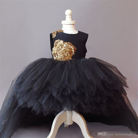 Cupcake Gold Sequins Flower Girl Dresses Tulle Long Hi Lo