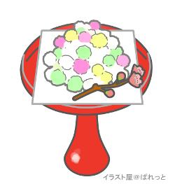 雛あられイラスト 高杯盛りの雛祭りお菓子桃の花付き 可愛い無料