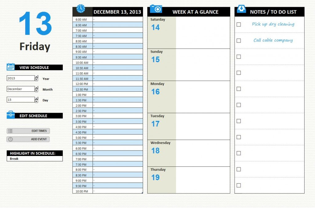 Daily work schedule templates free – cbeo