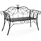 Best Choice Products 52in 2-Person Decorative Scroll Metal Patio Garden Bench Furniture w/ Armrests - Black