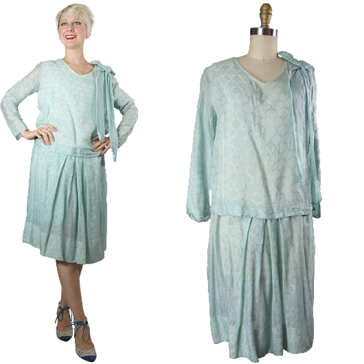 1920s Blue Rayon Day Dress from Noble Vintage Clothier at Ruby Lane