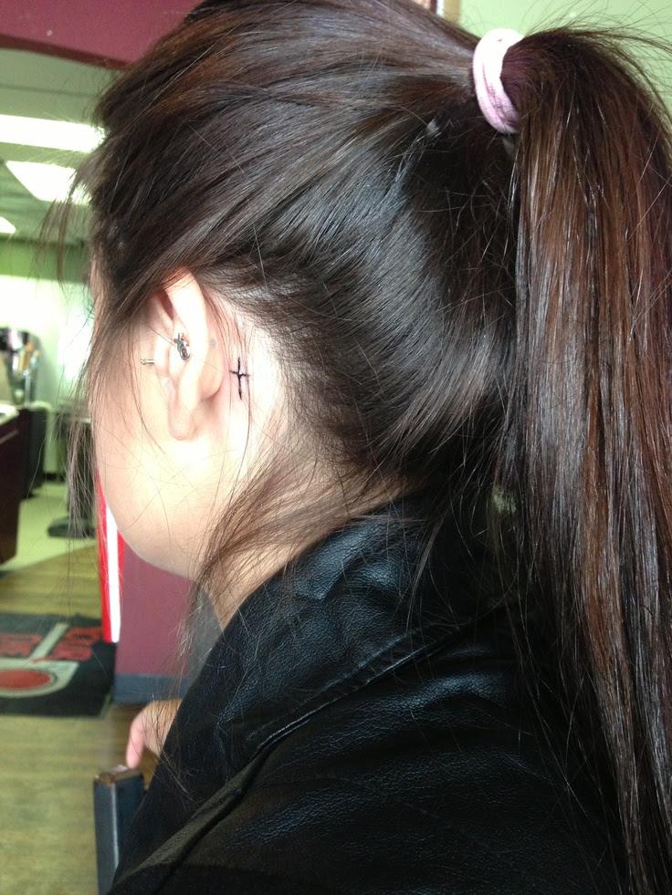 Cross tattoo. Behind ear. | Tattoos | Pinterest