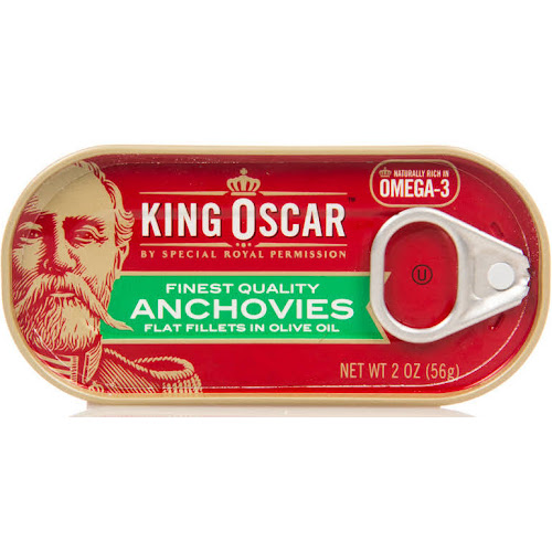 King Oscar Anchovies Flat Fillets in Olive Oil - 2 oz tin