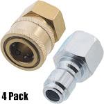 "4 Erie Tools Pressure Washer 3/8"" FNPT Quick Connect Socket & Plug Set"