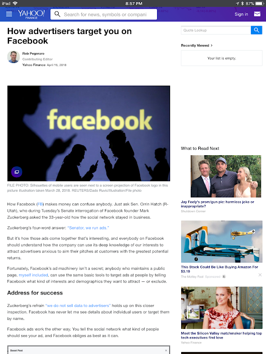 Weekly output: Facebook ads, Facebook tracking