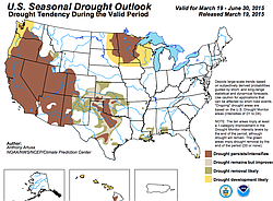 Drought conditions over San Diego County are expected to persist or intensify over the next three months.