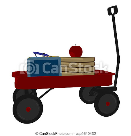 Clip Art of Back To School Illustration - Red flyer wagon on a white... csp4640432 -  Search Clipart, Illustration, Drawings, and EPS Vector Graphics Images