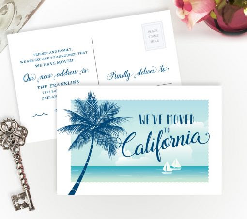We Have Moved to California cards | Personalized Moving Cards