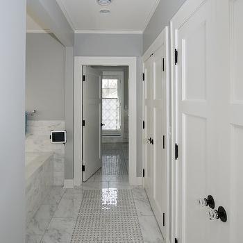 Gray Mosaic Tiles - Transitional - bathroom - Harrison ...
