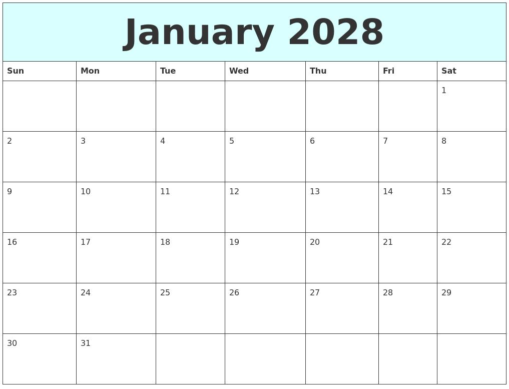 january 2028 free calendar