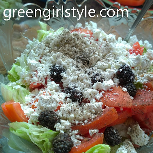 Yummy salad includes feta, blackberry, tomatoes,... | Bettering one's self one post at a time.