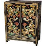 Oriental Furniture Black Dragons Lacquer Shoe Cabinet
