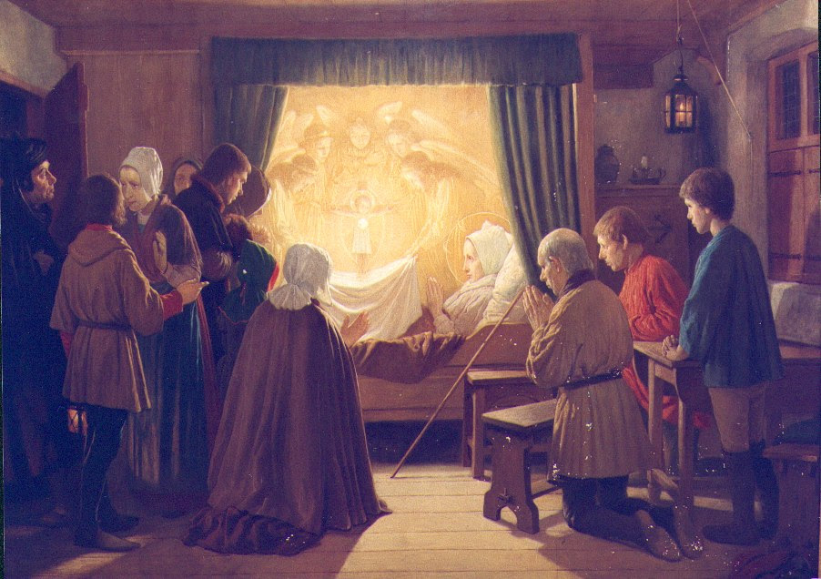 The heavenly hosts appear before Lydwine and her family