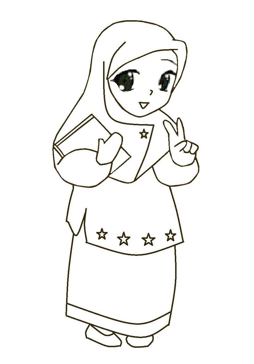Gambar Kartun Muslimah Tanpa Warna  Kantor Meme