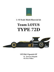 Maqueta de coche 1/43 Model Factory Hiro - Lotus Ford Type 72D John Player Special Nº 5, 21 - Emerson Fittipaldi, Dave Walker - Gran Premio de España 1972 - kit multimaterial