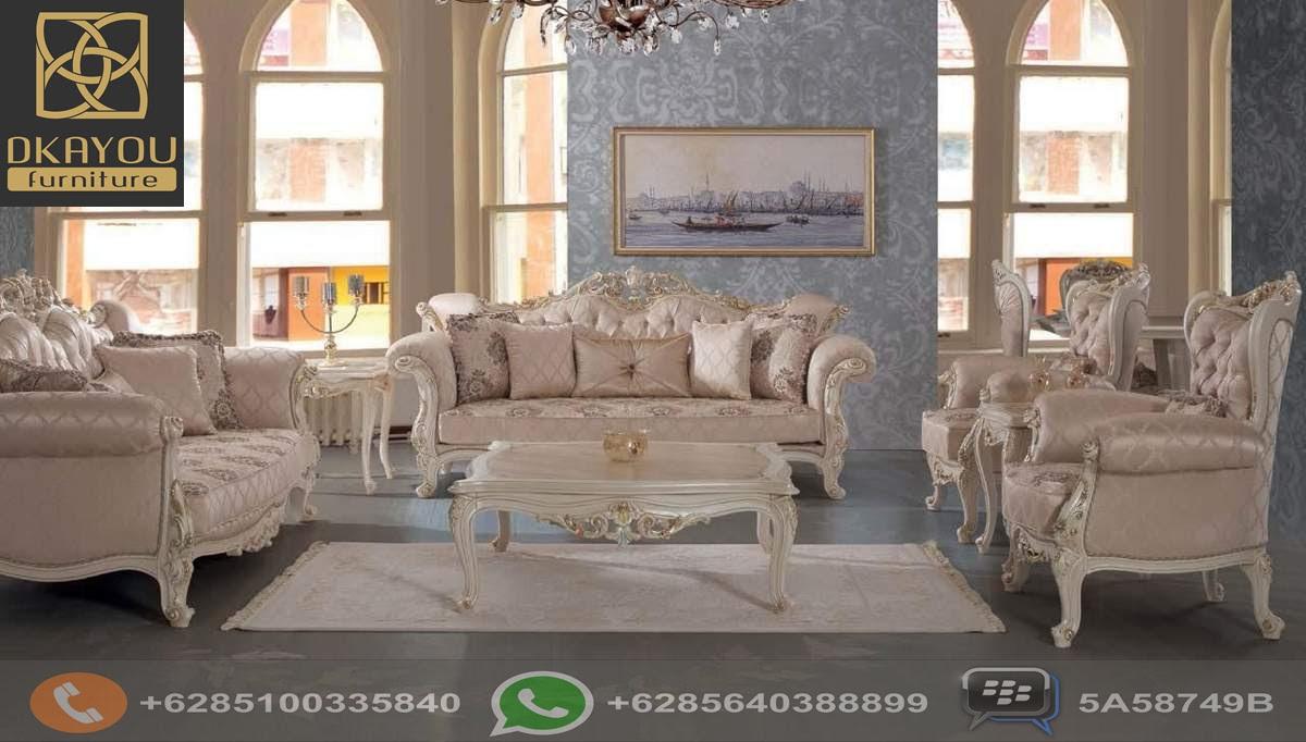 Set Sofa Tamu Jepara Model Terbaru Putih Mewah Dkayou Furniture