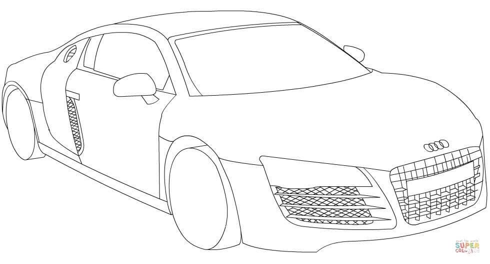 Ausmalbild: Audi R8 | Ausmalbilder kostenlos zum ausdrucken