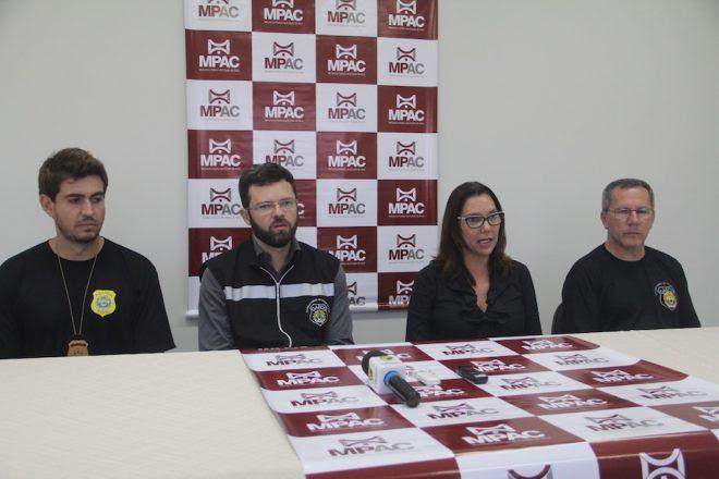 Operação do MP contou com vários policiais que realizaram várias diligencias e a prisão do empresário em Brasiléia - Foto: Alexandre Lima