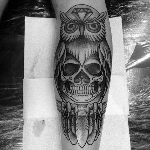 50 Owl Skull Tattoo Designs For Men Cool Ink Ideas
