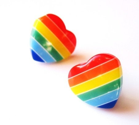 Vivid Rainbow Heart Earring Studs