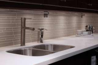 White Glass Subway Tile Kitchen Backsplash 2