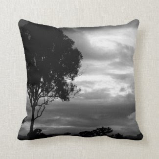 Black & White Tree and Sky Throw Pillow