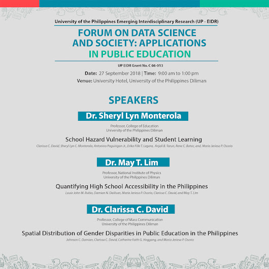 UP EIDR hosts Forum on Data Science and Society: Applications in Public Education