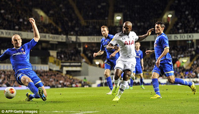 Two easy: Defoe scores his and Tottenham's second goal of the goal