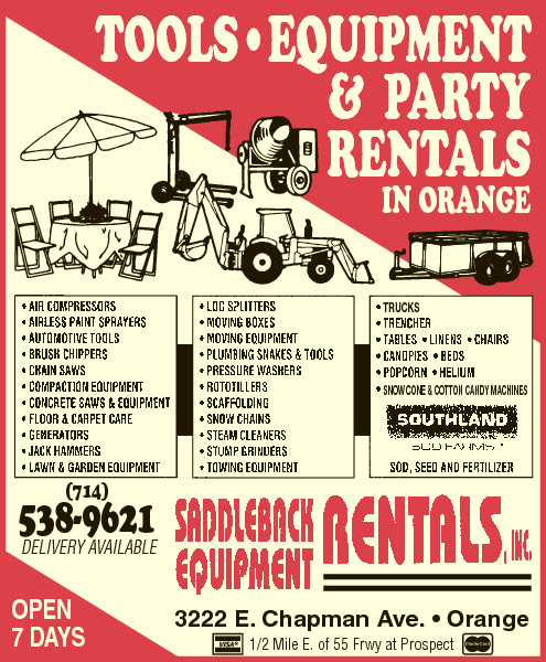 Saddleback Equipment Rentals Inc.