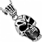 My Daily Styles Stainless Steel Silver-Tone Black CZ Skull Mens Pendant Necklace, 21.5 inch