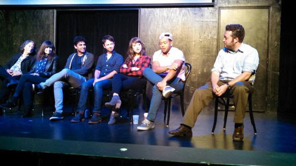 Ian O'Connor, Sherry O'Connor, Karan Soni, John Milhiser, Milana Vayntrub, Eugene Cordero and Neil Casey conduct a Q&A session after the OTHER SPACE screening at the UCB Theater in Hollywood...on May 16, 2015.
