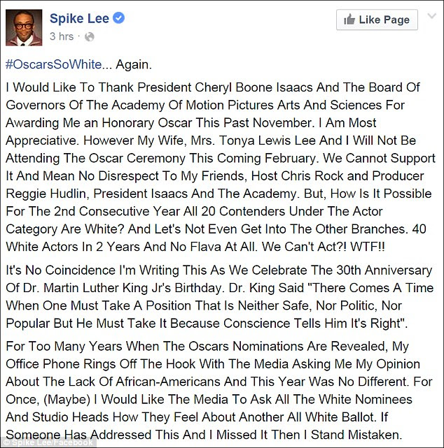 Speaking out: Honorary Oscar winner Spike Lee announced his decision in a lengthy Facebook post on MLK day