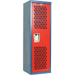 Hallowell Htl151548-1Gr Wrdrb Lockr,vent,1 Wide, 1 Tier,red/blue