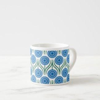 Blue Modern Floral Pattern-White Espresso Mugs