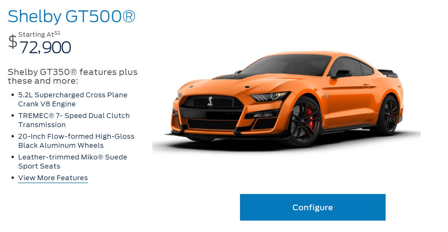 2020 Ford Mustang Shelby Gt500 Configurator Is Live