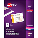 """Avery Name Badge Insert Refills 5392 Name badge cards, 3"""" x 4"""", White - 300 cards"""