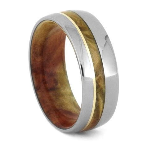Wood Wedding Band For Men With Flame Box Elder Burl, 14k