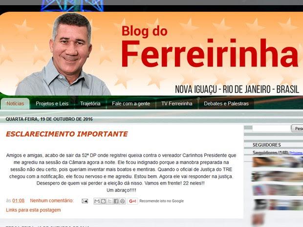 Vereador postou uma declaração em seu blog (Foto: Reprodução)