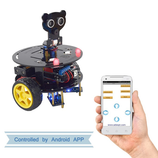 Adeept 3WD Bluetooth Smart Robot Car Kit for Arduino UNO R3