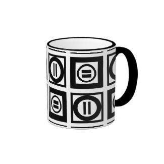 Black and White Geometric Equal Sign Pattern Ringer Mug