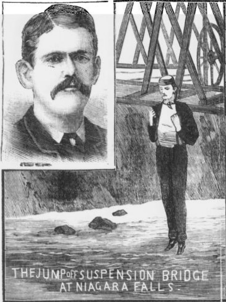 Ilustración del salto de Donovan en las Cataratas del Niágara | Police News Law Courts and Weekly Record 1886 (Dominio Público)