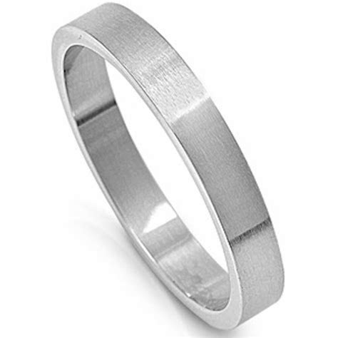 SOLID 4mm FLAT BAND PIPE CUT WEDDING BAND 316L Stainless