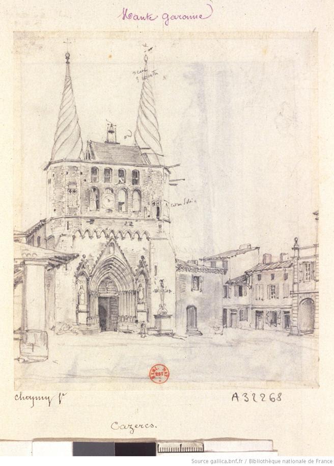 [Cazères. Eglise Notre-Dame] : [dessin] / [Nicolas-Marie-Joseph Chapuy]