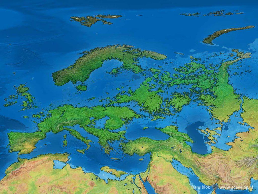Het verdronken land van Europa: de kaart van ons werelddeel, en Noord-Afrika en het Midden-Oosten, als de poolkappen smelten