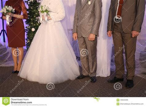 Bridal Couple With Bridesmaid And Best Man Stock Image