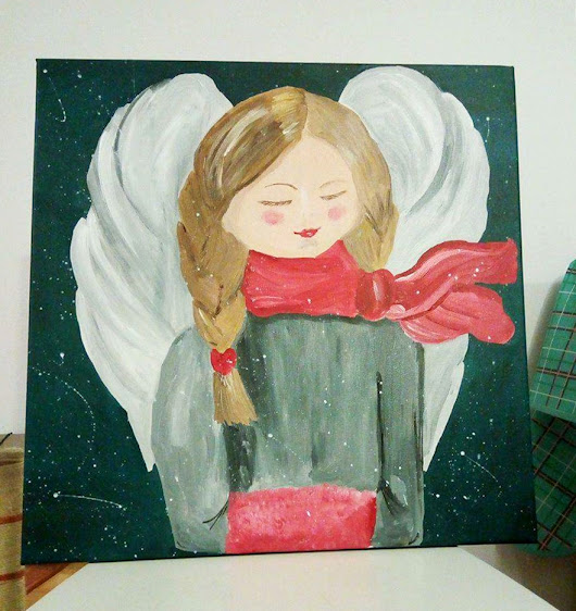 Hannah – an angel who loves winter Original painting