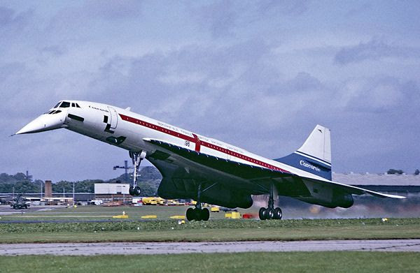 The now-retired Concorde is about to land at England's Farnborough Airport in September of 1974.