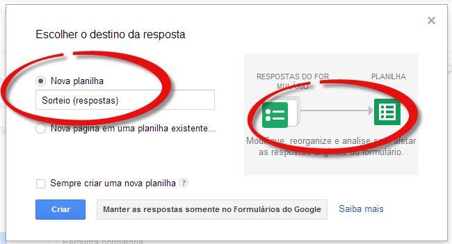 google drive respostas nova planilha