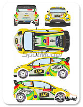 Decal 1/24 by Racing Decals 43 - Ford Fiesta WRC LMP - Nº 9 - D. Oliveira + C. Magalhaes - Portugal Rally 2012 for Belkits kit BEL-003
